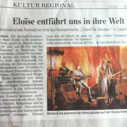 Article de presse du Saarbrücker Zeitung
