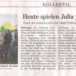 Article de presse du 03.08.16 – concert à Püttlingen (DE)
