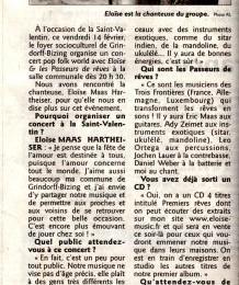 Article de presse du concert du 14.02 @ Grindorff-Bizing